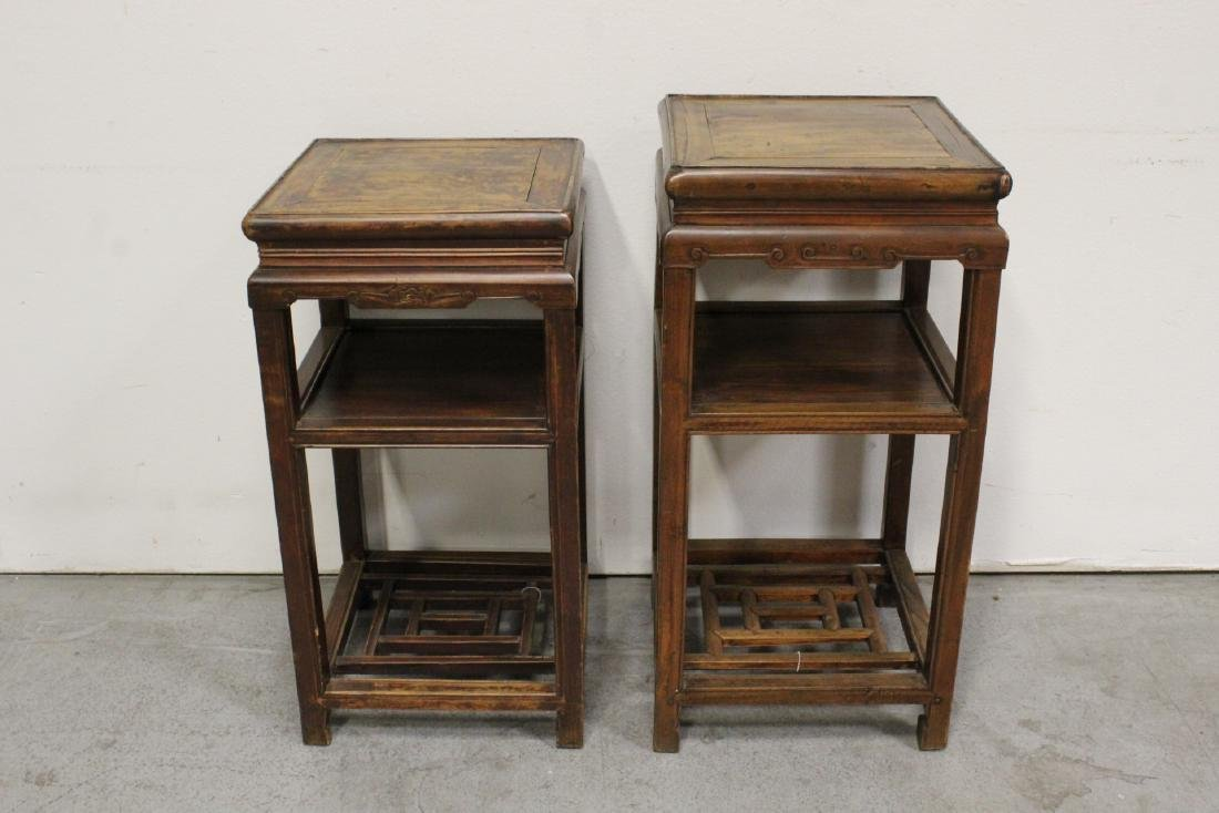 Pair Chinese antique square pedestal tables