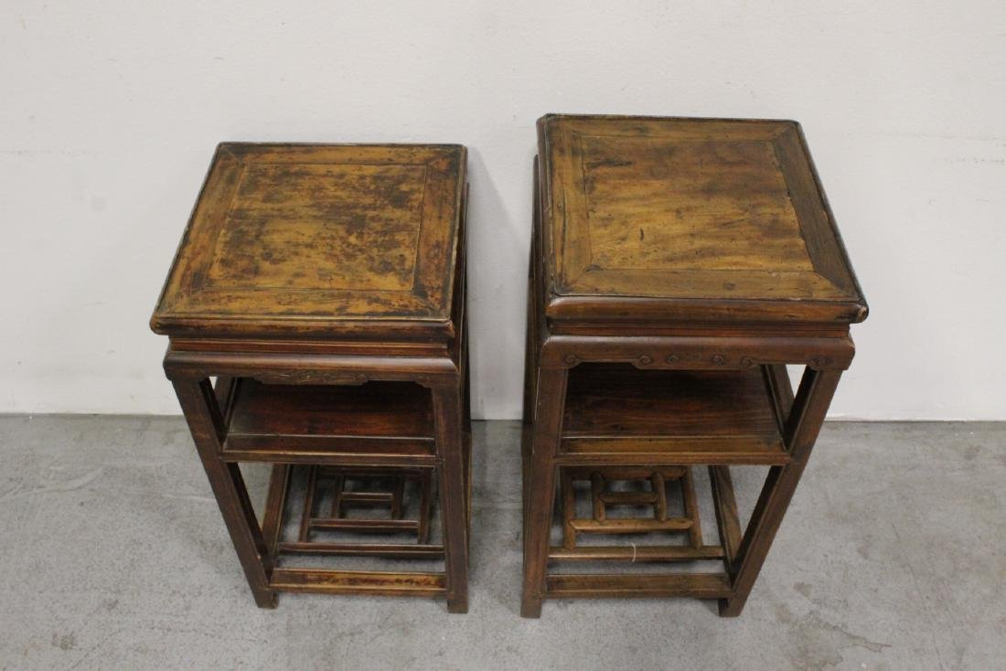 Pair Chinese antique square pedestal tables - 2