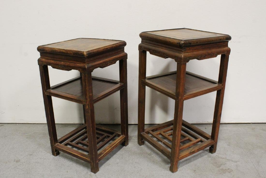 Pair Chinese antique square pedestal tables - 3