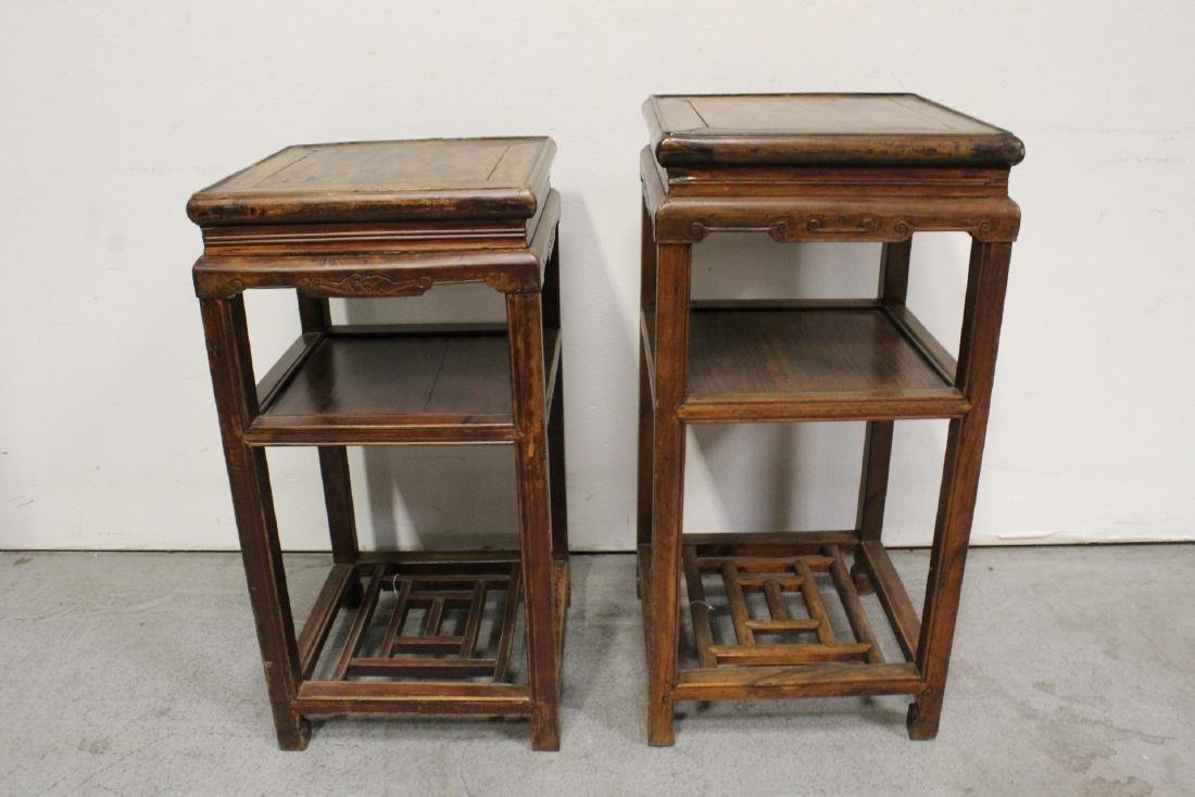 Pair Chinese antique square pedestal tables - 4