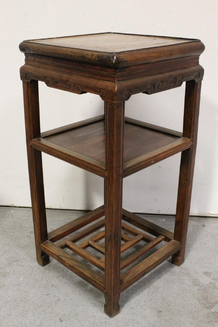 Pair Chinese antique square pedestal tables - 6