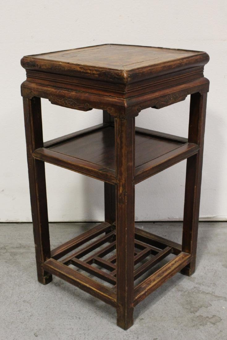 Pair Chinese antique square pedestal tables - 9