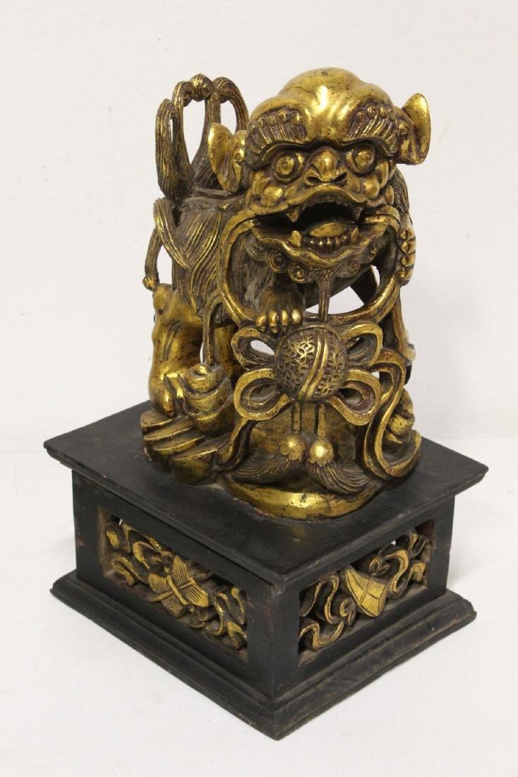Pair Chinese gilt wood fulion - 10