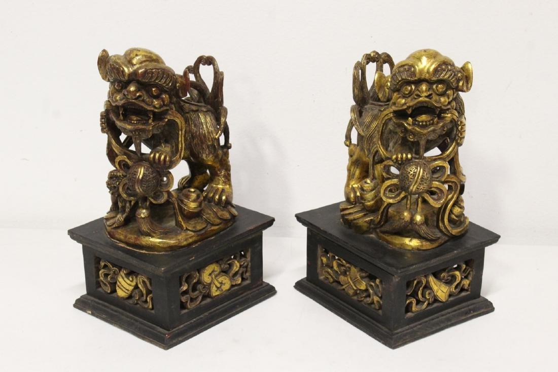Pair Chinese gilt wood fulion