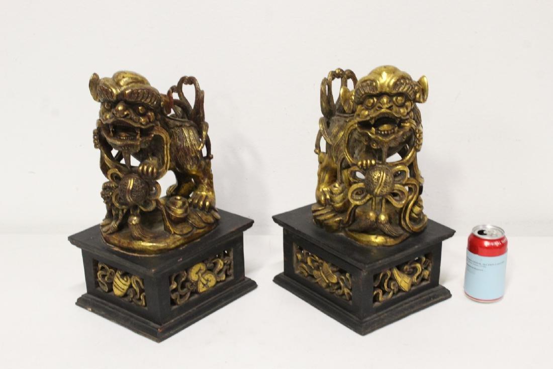 Pair Chinese gilt wood fulion - 2