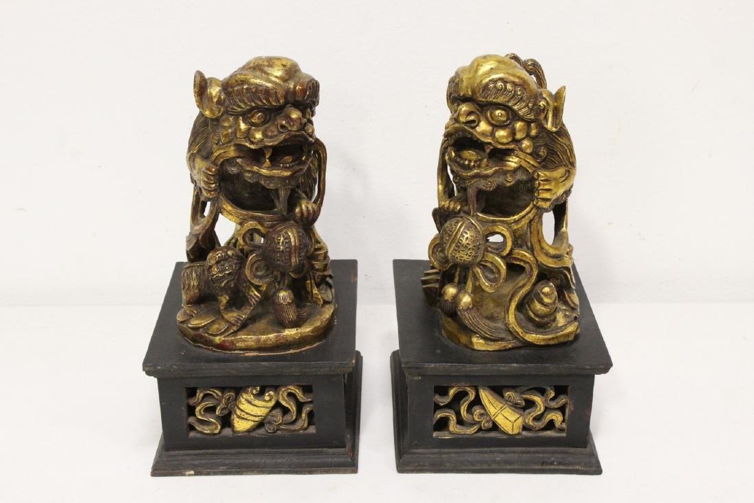 Pair Chinese gilt wood fulion - 3