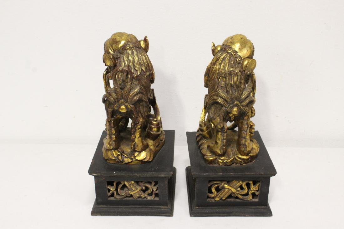 Pair Chinese gilt wood fulion - 7