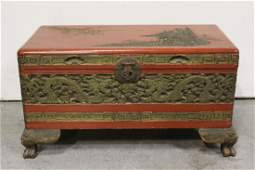 Chinese antique red lacquer trunk