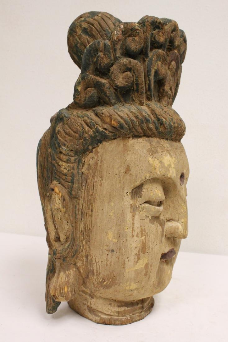 Chinese large wood Buddha head - 10