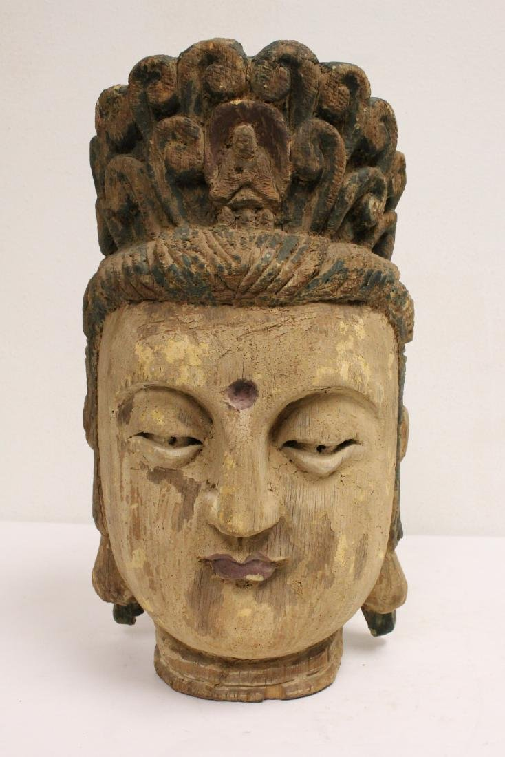 Chinese large wood Buddha head
