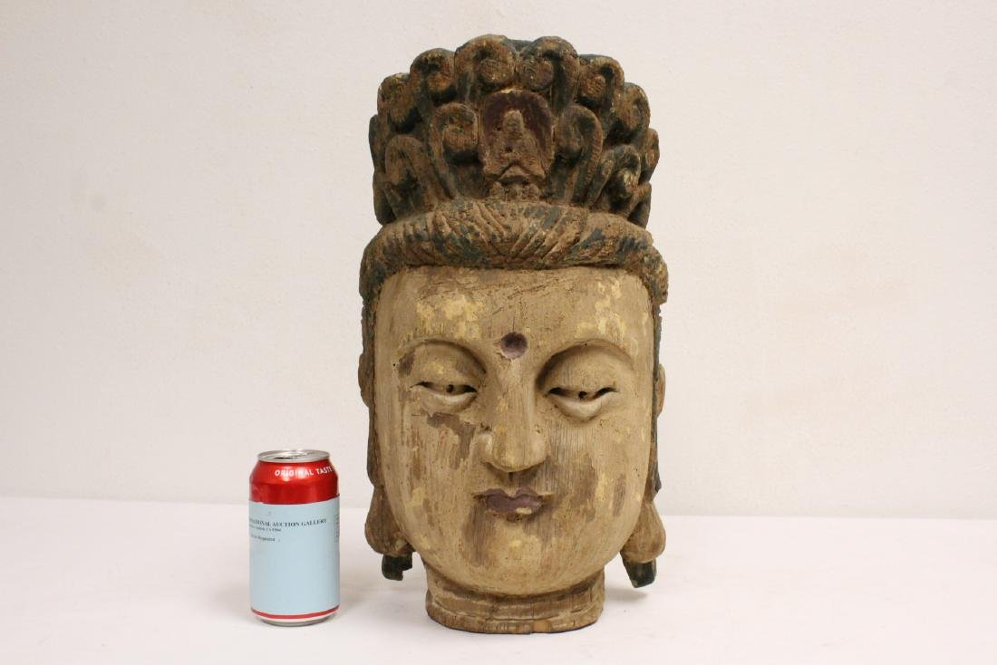 Chinese large wood Buddha head - 2