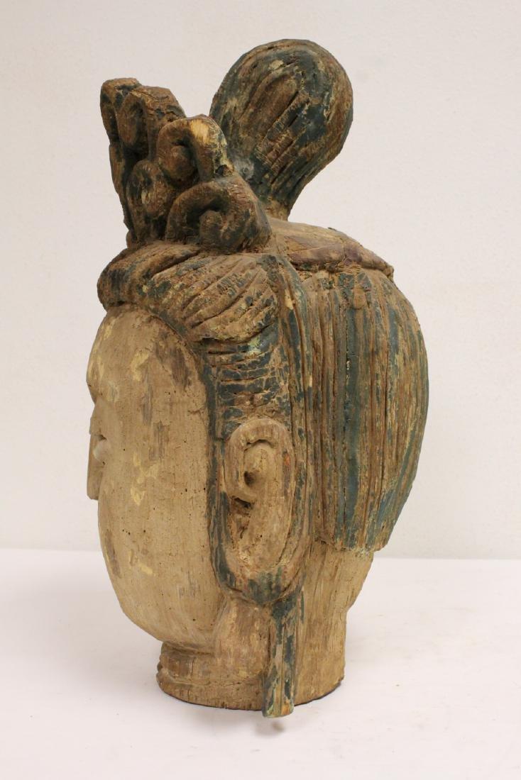 Chinese large wood Buddha head - 3