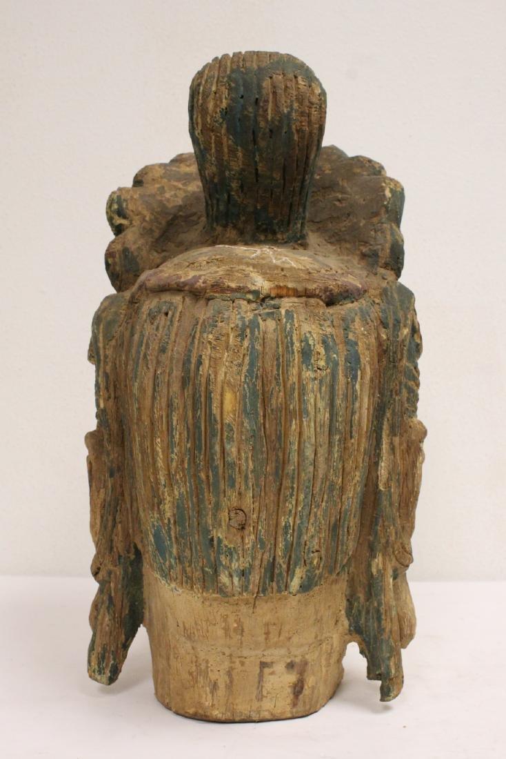 Chinese large wood Buddha head - 4