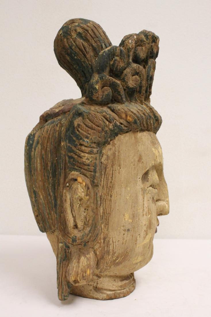 Chinese large wood Buddha head - 5