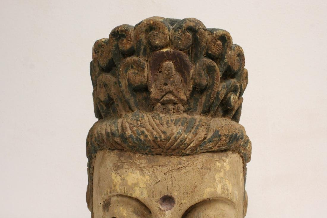 Chinese large wood Buddha head - 7