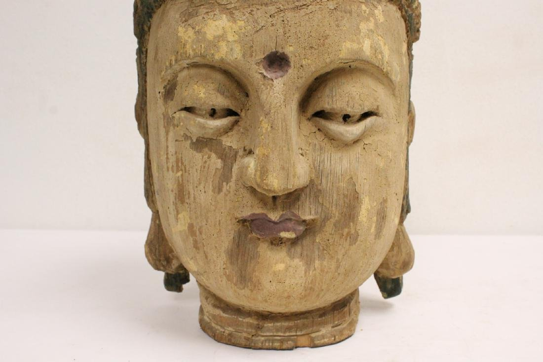 Chinese large wood Buddha head - 8