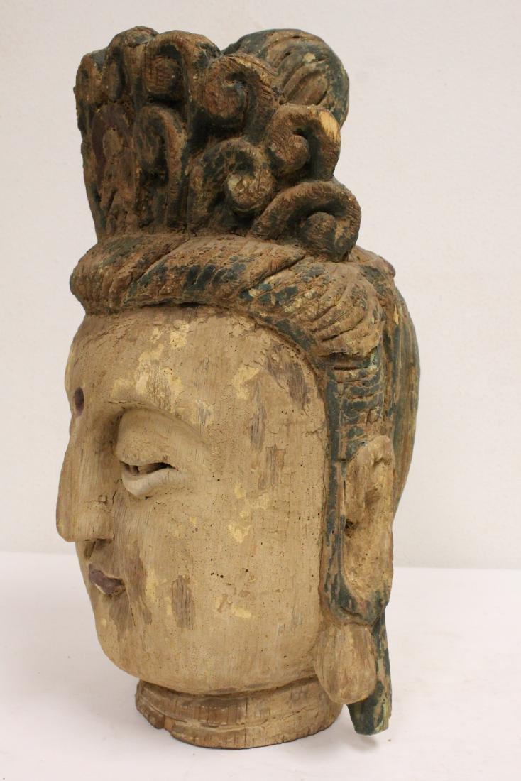 Chinese large wood Buddha head - 9