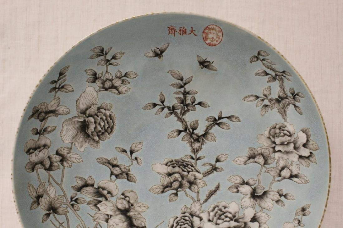 Large Chinese famille rose porcelain charger - 7