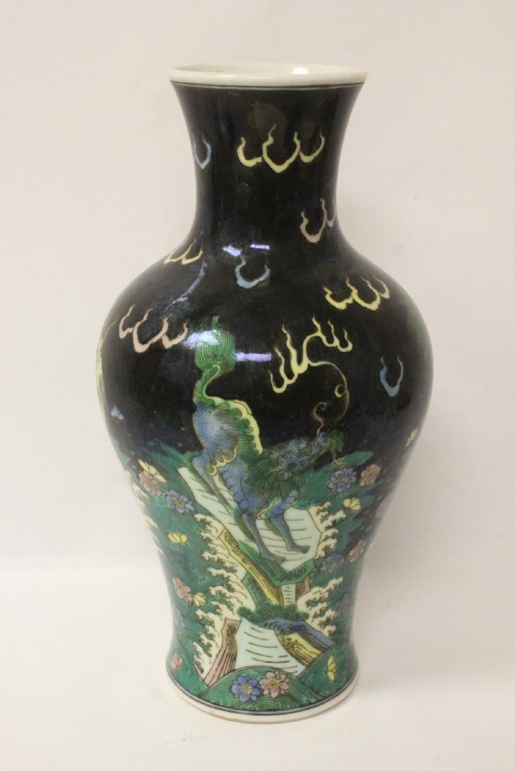 Chinese black background famille rose vase - 6