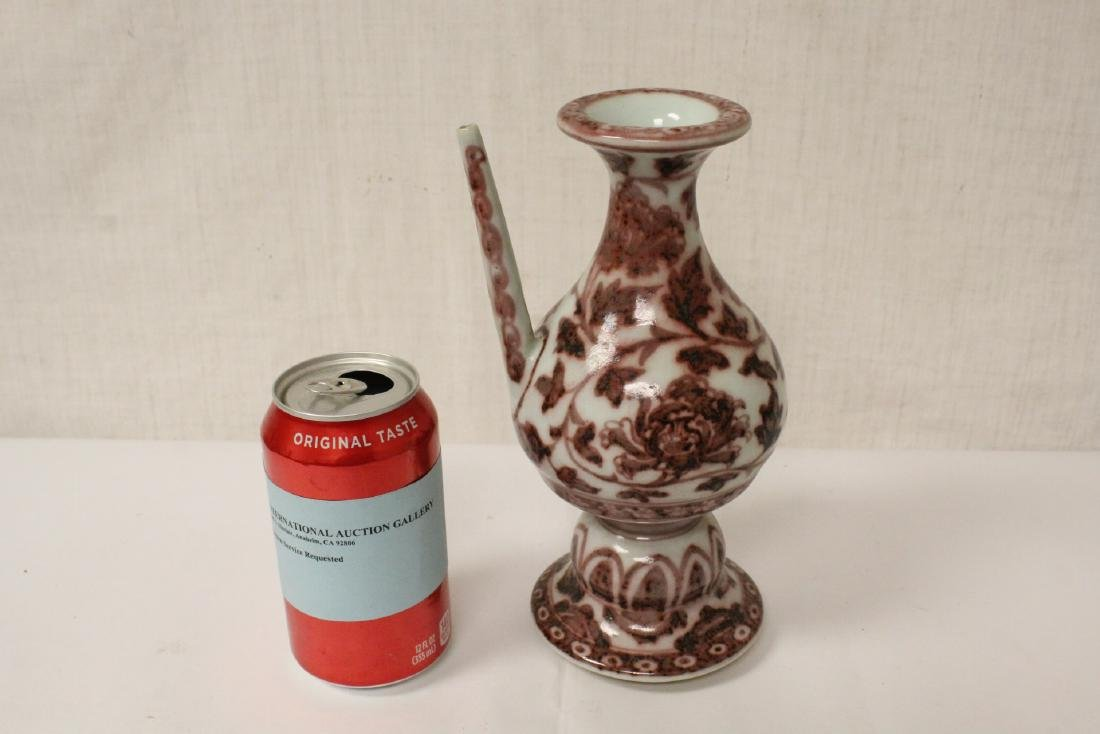 Chinese red and white porcelain wine server - 2