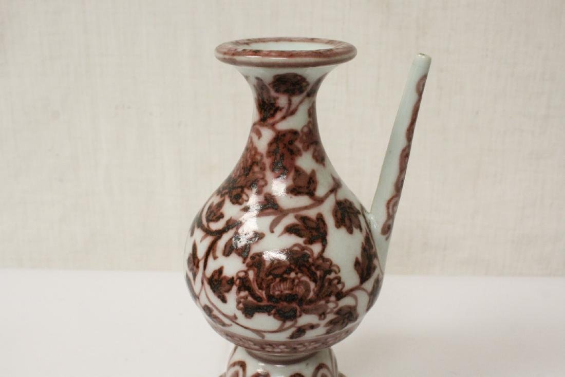 Chinese red and white porcelain wine server - 8