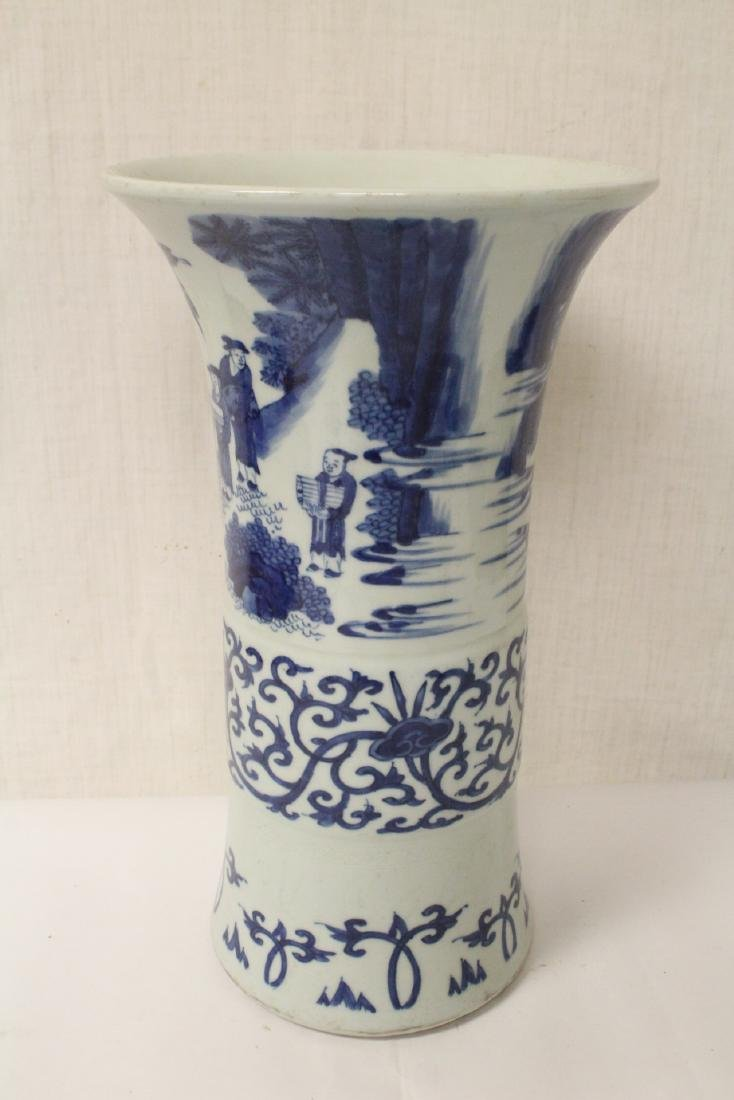 Chinese blue and white porcelain trumpet vase - 3