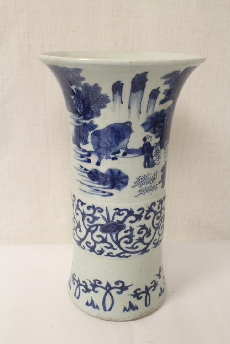 Chinese blue and white porcelain trumpet vase - 4