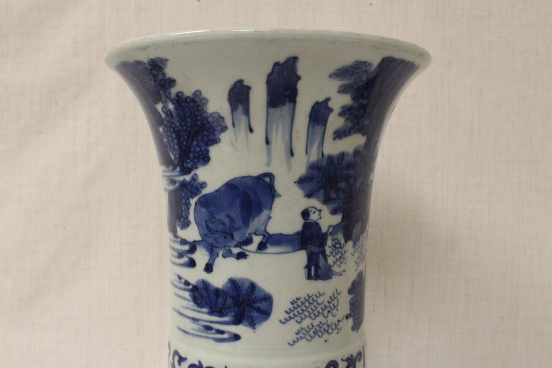 Chinese blue and white porcelain trumpet vase - 5
