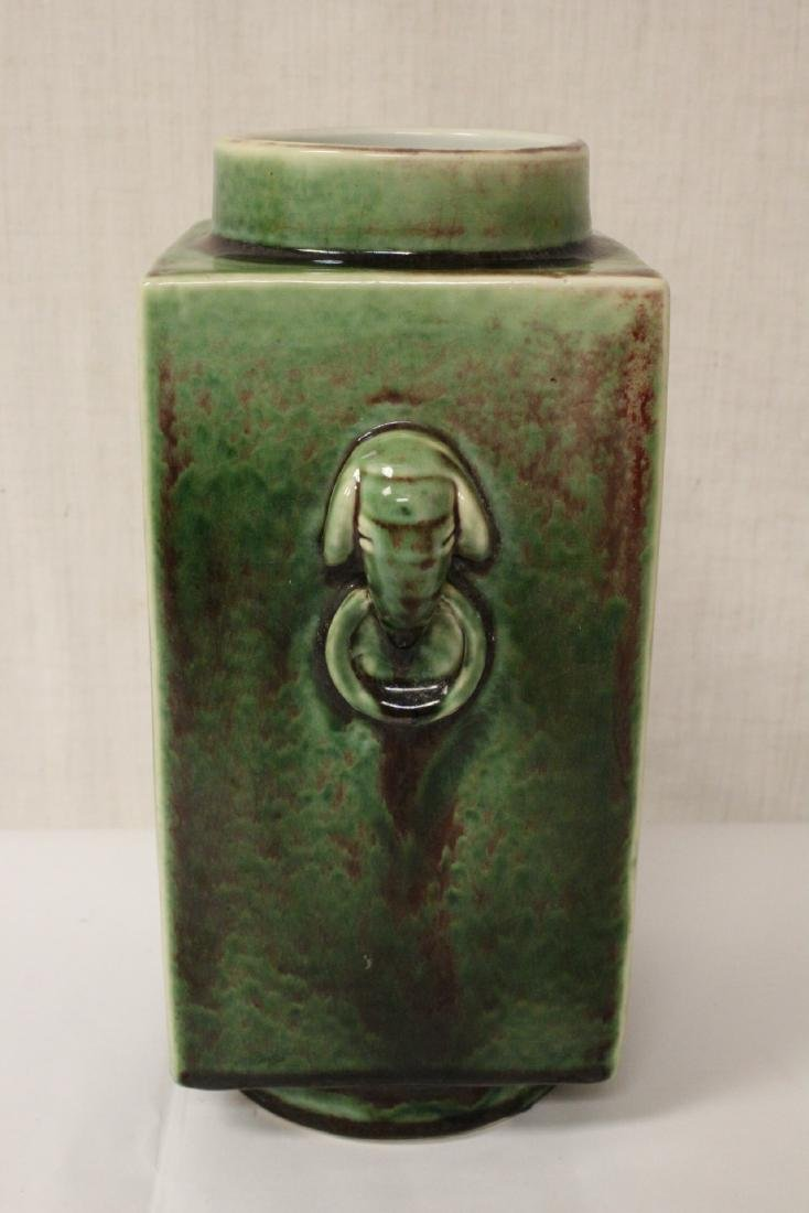 Chinese green glazed porcelain square vase - 4