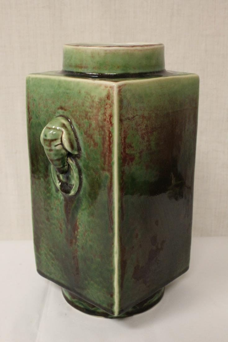 Chinese green glazed porcelain square vase - 5