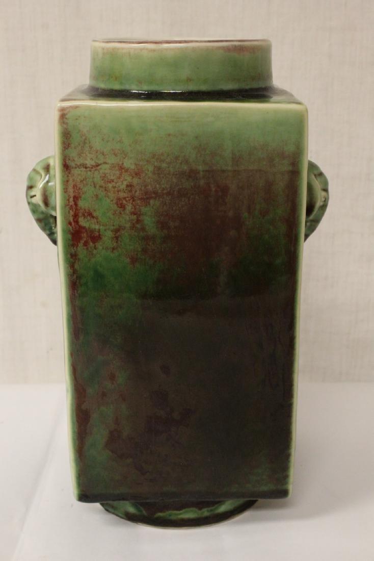 Chinese green glazed porcelain square vase - 6