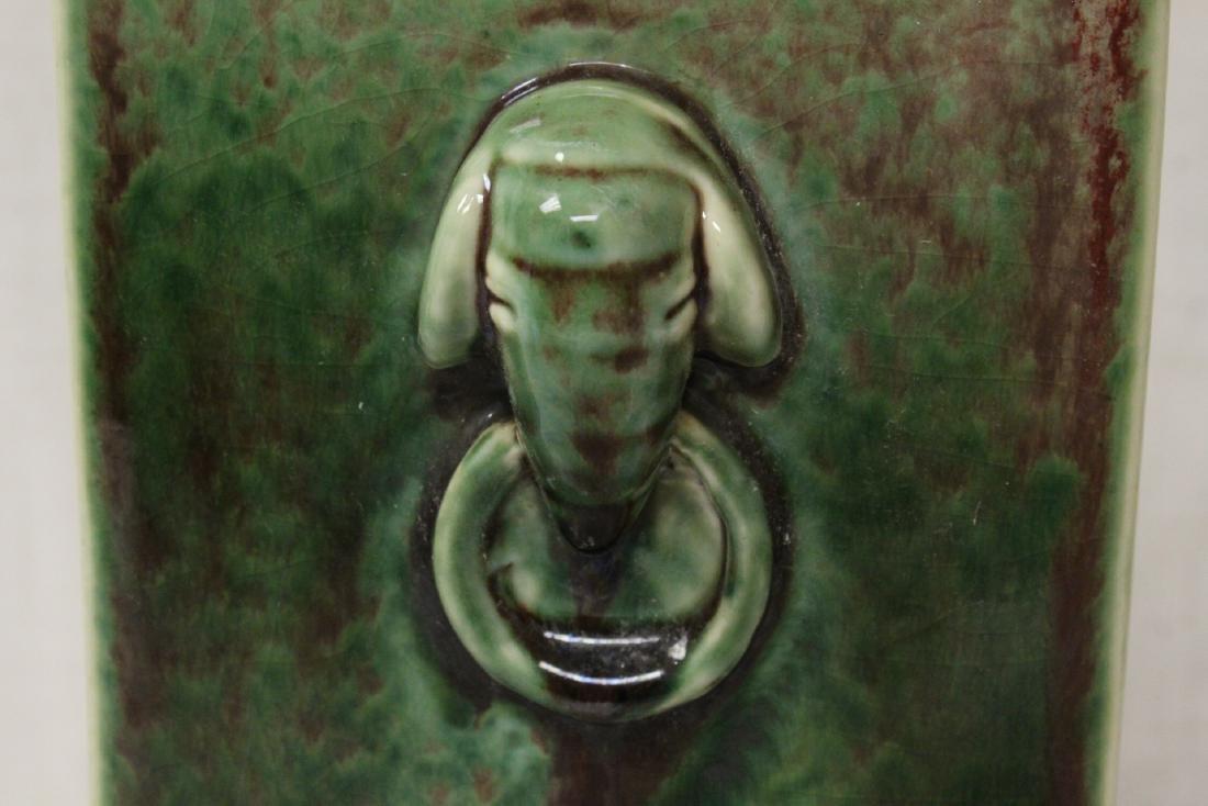Chinese green glazed porcelain square vase - 9