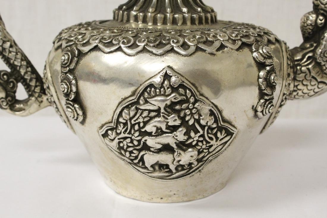 Chinese silver on bronze wine server - 2