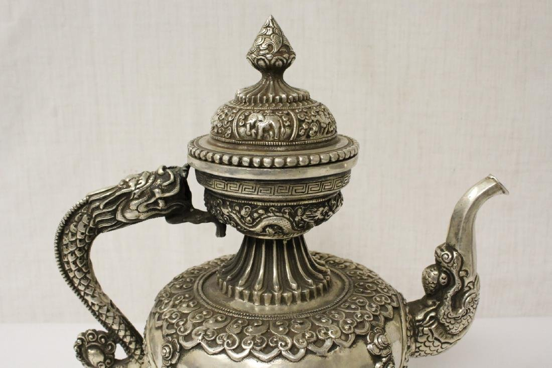 Chinese silver on bronze wine server - 3