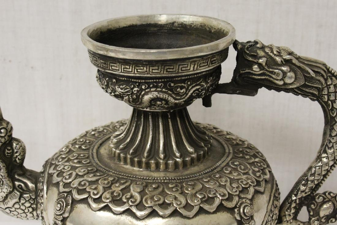 Chinese silver on bronze wine server - 8