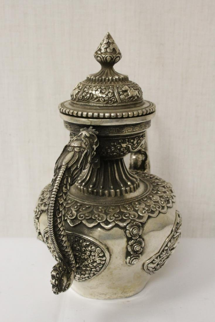 Chinese silver on bronze wine server - 9