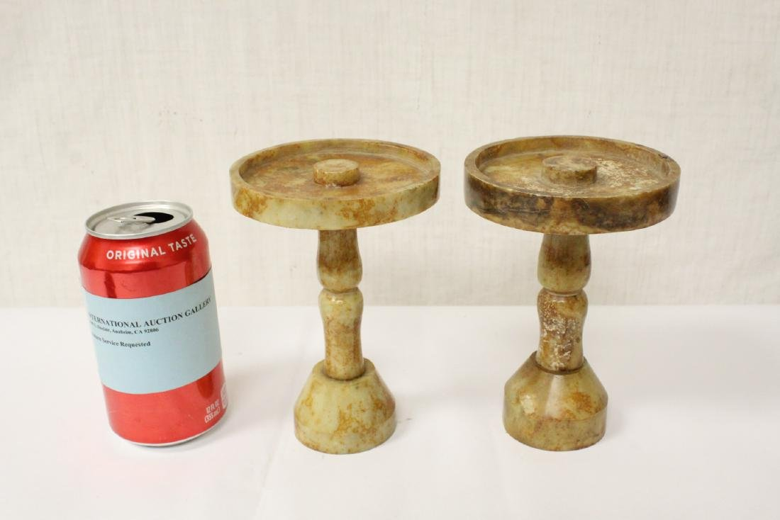 Pair Chinese jade carved candle holders - 2