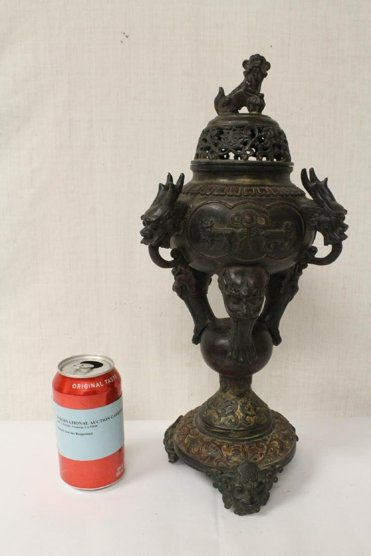 A very ornate Chinese bronze censer - 2