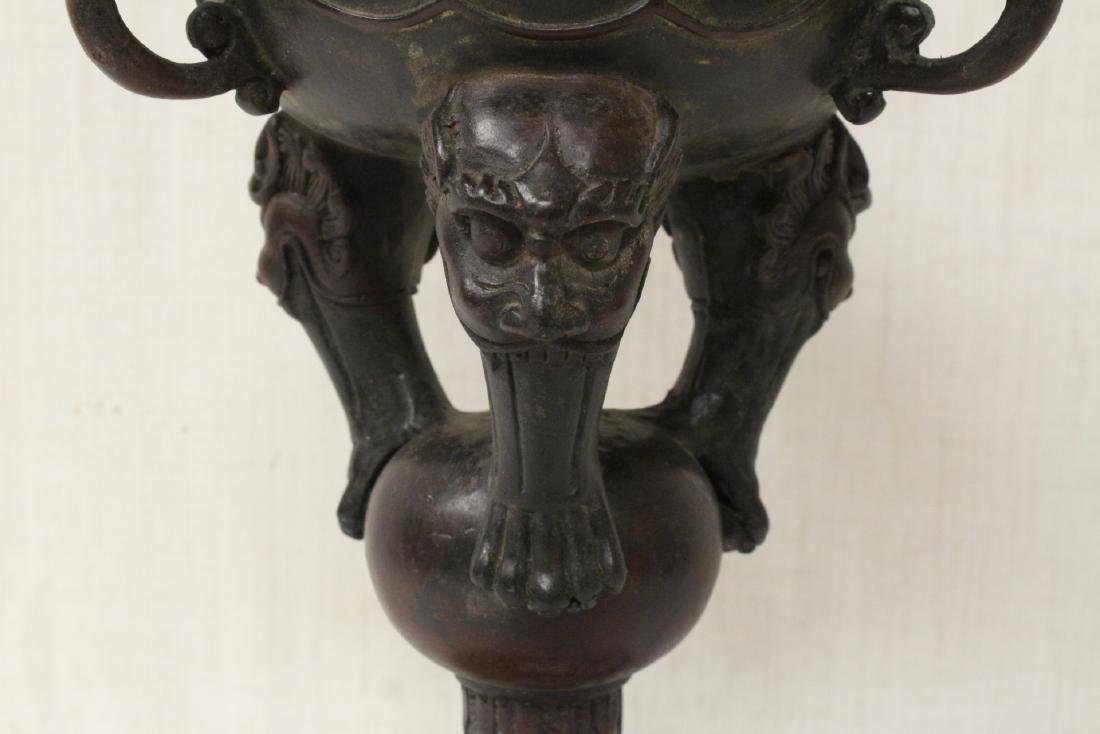 A very ornate Chinese bronze censer - 4