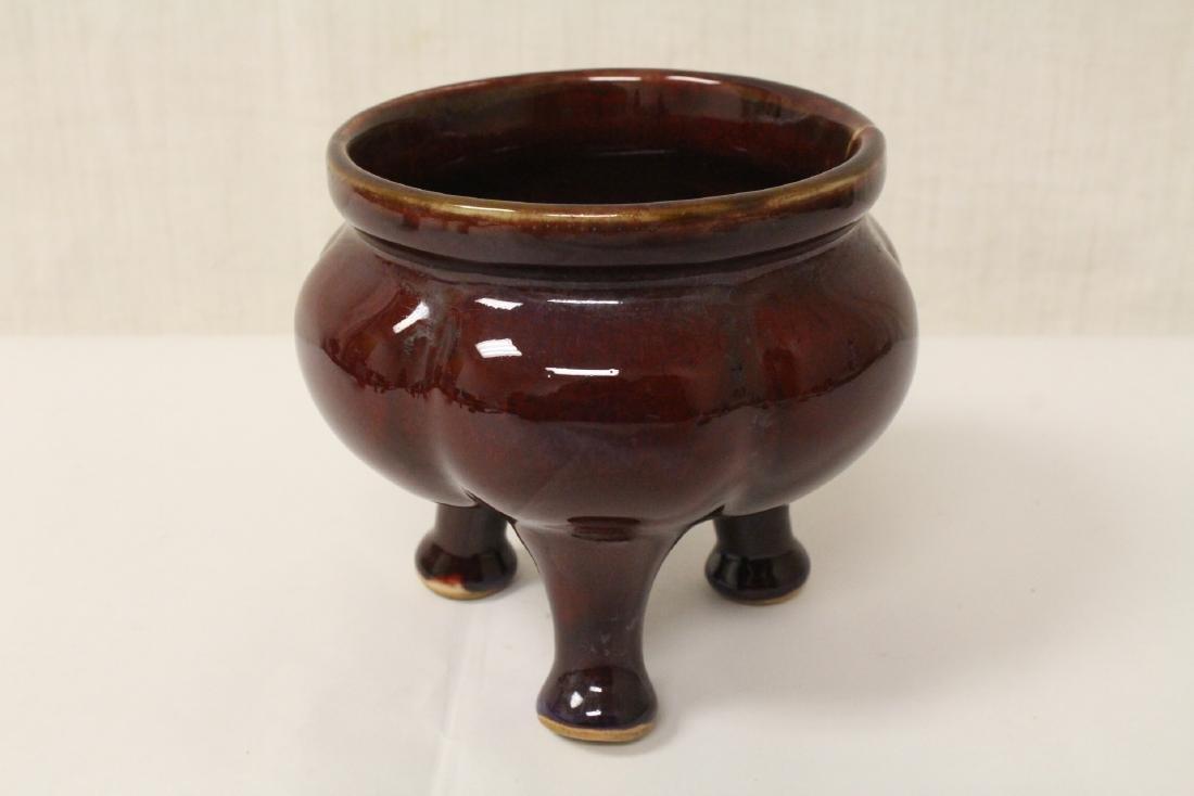 Chinese red glaze porcelain tripod censer