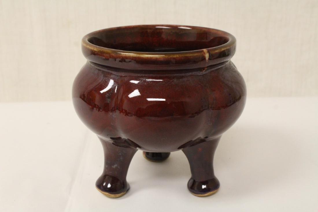 Chinese red glaze porcelain tripod censer - 2