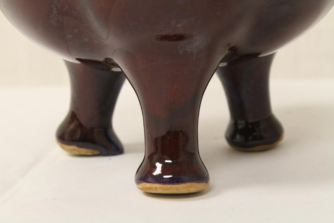 Chinese red glaze porcelain tripod censer - 4