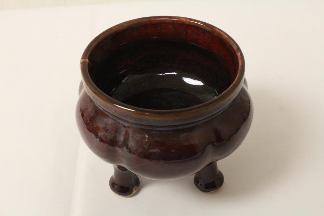 Chinese red glaze porcelain tripod censer - 5