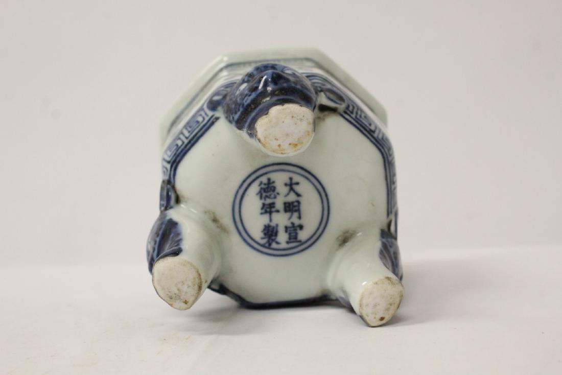 Blue and white tripod censer - 10