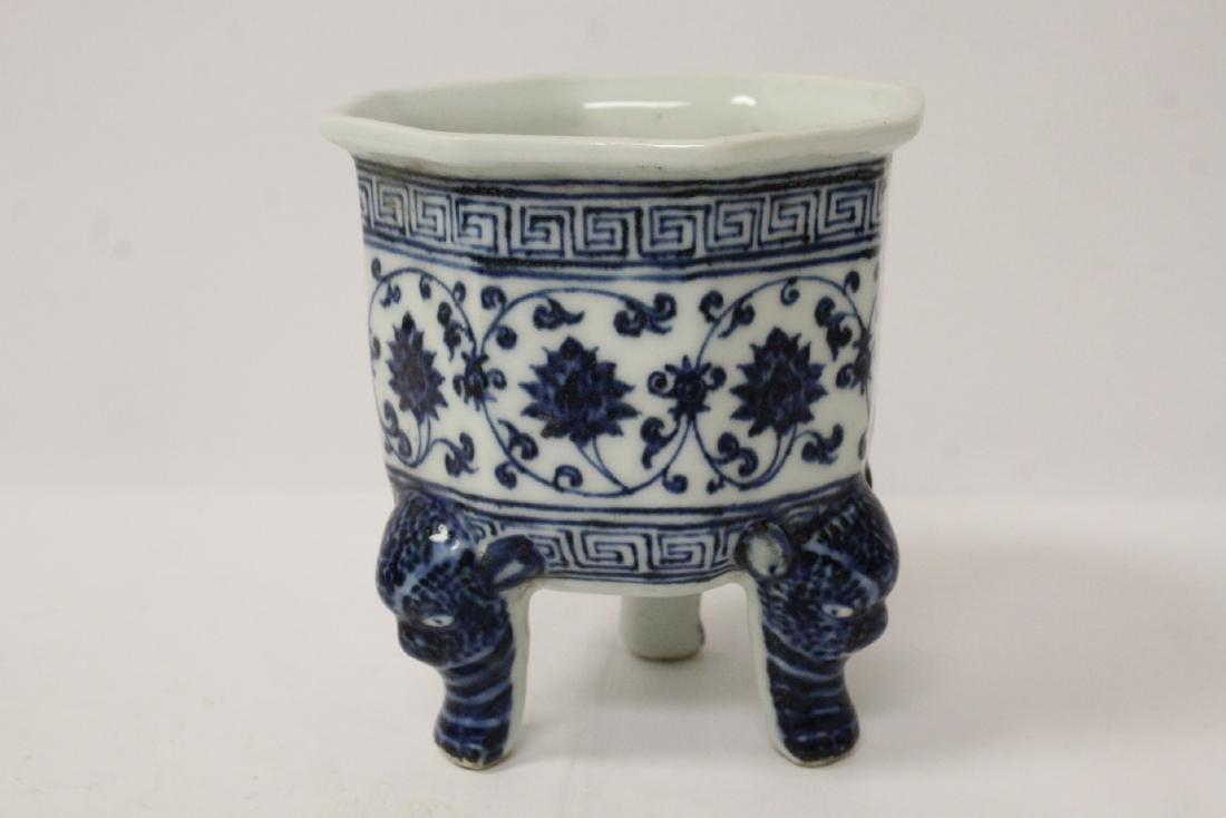 Blue and white tripod censer