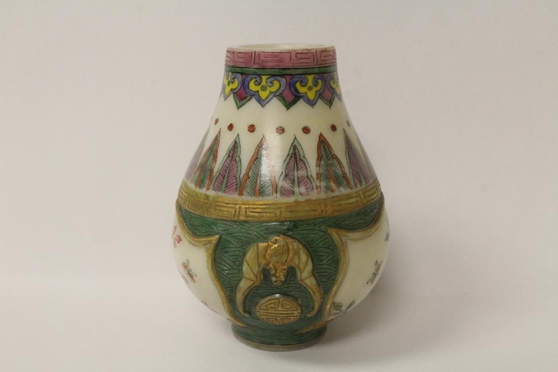 Enamel on Peking glass small jar - 4