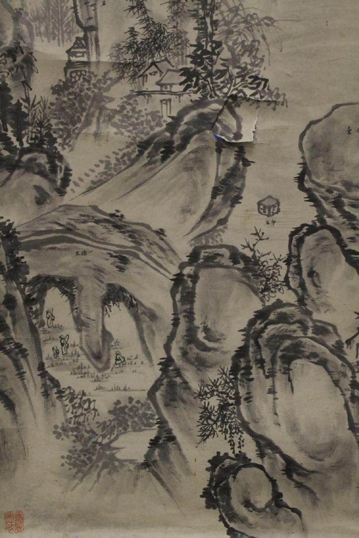 "Chinese watercolor scroll ""mountain landscape"" - 3"