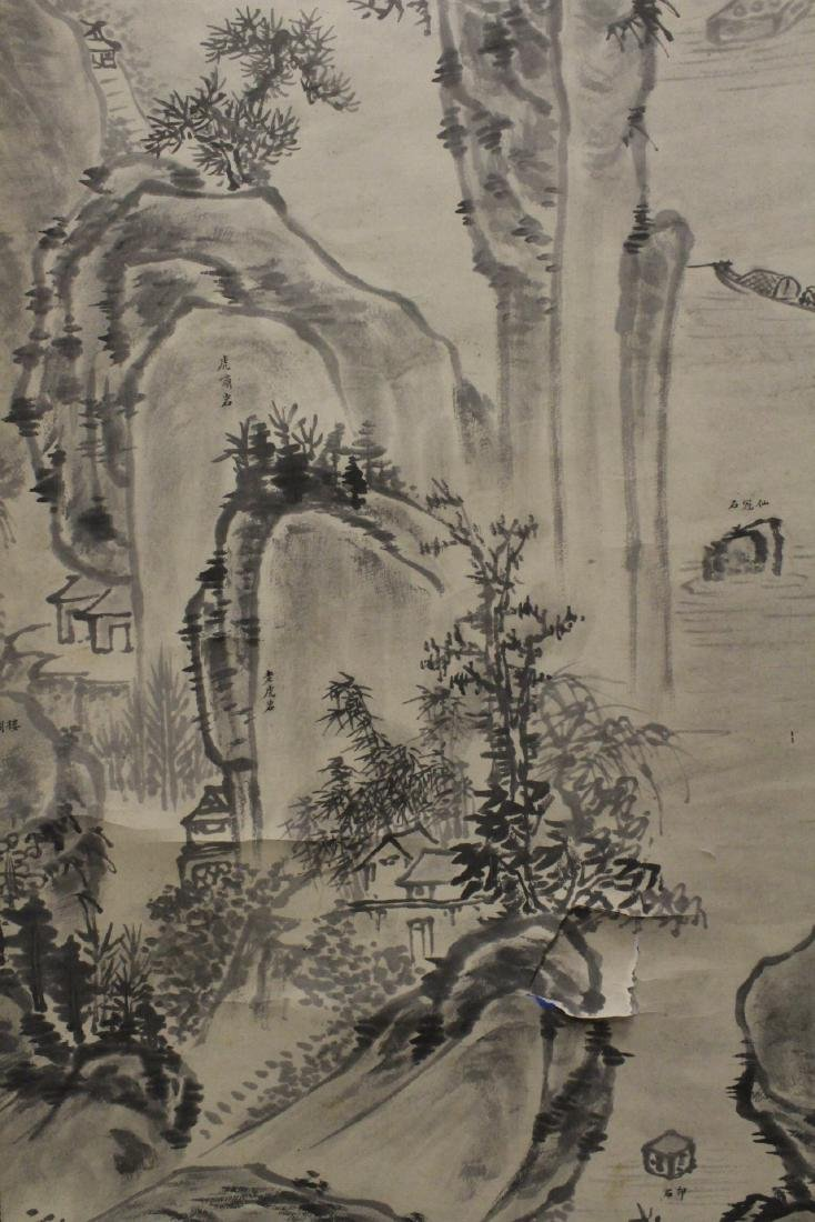 "Chinese watercolor scroll ""mountain landscape"" - 9"
