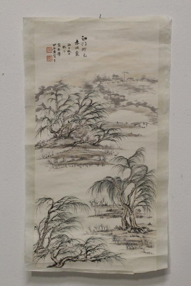 Chinese w/c panel, and an etching of bronze jar - 2