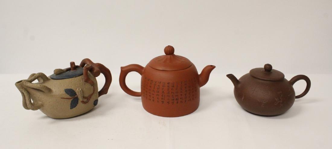 3 Chinese Yixing teapots